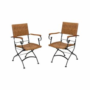 Sada 2 záhradných skladacích stoličiek s opierkami na ruky z akáciového dreva ADDU Graz