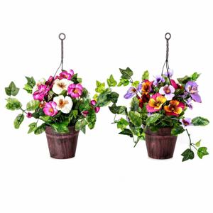 Sada 2 umelých kvetín v kvetináči Unimasa Pensamie