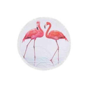 Farebná plážová osuška zo 100% bavlny Flamingos,⌀150 cm