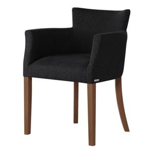 Čierna stolička s tmavohnedými nohami Ted Lapidus Maison Santal