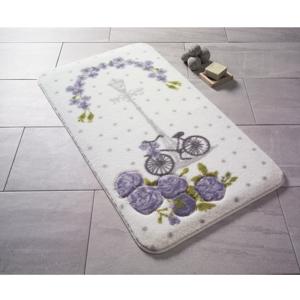 Vzorovaná fialová predložka do kúpeľne Confetti Bathmats Vintage Bike, 80×140cm
