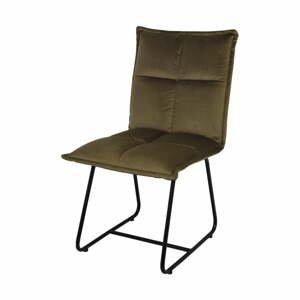 Olivovohnedá jedálenská stolička so zamatovým poťahom HSM Collection Estelle
