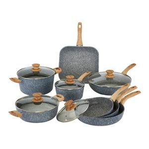 8-dielny set riadu s pokrievkami a úchytmi s imitáciou dreva Bisetti Pierre Gourmet Cristina
