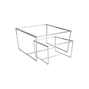 Sada 2 konferenčných stolíkov s podnožím v striebornej farbe a sivou mramorovou doskou RGE Stella