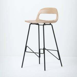 Barová stolička so sedadlom z masívneho dubového dreva a čiernymi nohami Gazzda Leina, výška 94cm