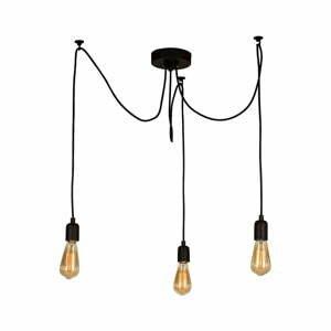 Čierne závesné svietidlo Wire Hanging Lamp Larro, 3 žiarovky