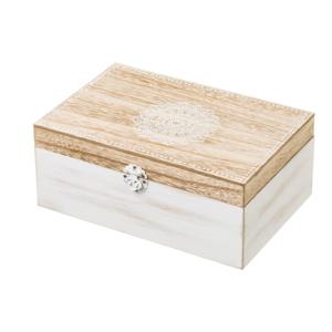 Biely drevený úložný box Unimasa Treasure, 24×17 cm
