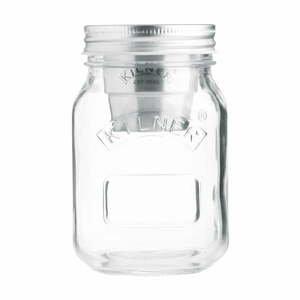 Cestovný sklenený pohár na desiatu s miskou na dresing Kilner, 0,5 l