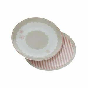 Sada 2 dezertných tanierov z kostného porcelánu Brandani Peonia