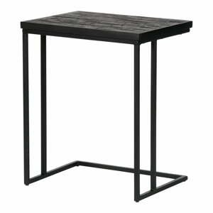 Čierny odkladací stolík s doskou z recyklovaného teakového dreva BePureHome Shape