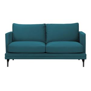 Tyrkysová dvojmiestna pohovka s podnožou v čiernej farbe Windsor & Co Sofas Jupiter