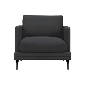 Tmavosivé kreslo s podnožou v čiernej farbe Windsor & Co Sofas Jupiter