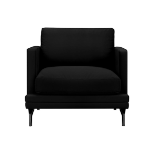Čierne kreslo s podnožou v čiernej farbe Windsor & Co Sofas Jupiter