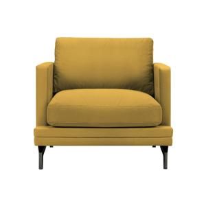 Žlté kreslo s podnožou v čiernej farbe Windsor & Co Sofas Jupiter