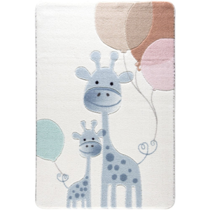 Detský svetlomodrý koberec Confetti Happy Giraffe, 133x190cm