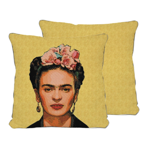 Obojstranná obliečka na vankúš s ľanovou prímesou Madre Selva Frida Draw Yellow, 45×45 cm