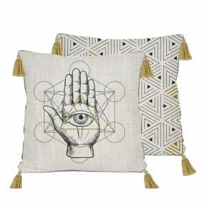 Obojstranná obliečka na vankúš s ľanovou prímesou Madre Selva Symbolic Hand, 45×45 cm
