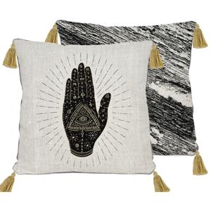 Obojstranná obliečka na vankúš s ľanovou prímesou Madre Selva Black Hand, 45×45 cm