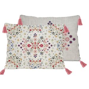 Obojstranná obliečka na vankúš s ľanovou prímesou Madre Selva Flowers Tapestry, 50×35 cm
