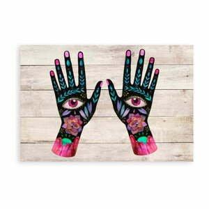 Nástenná dekorácia z borovicového dreva Madre Selva Hand Eyes, 60×40 cm