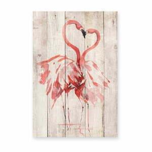 Nástenná dekorácia z borovicového dreva Madre Selva Love Flamingo, 60×40 cm