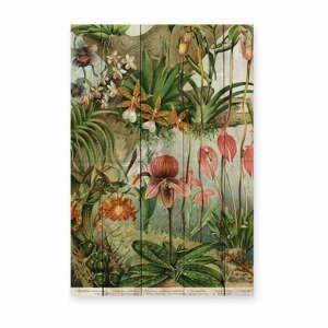 Nástenná dekorácia z borovicového dreva Madre Selva Jungle Flowers, 60×40 cm