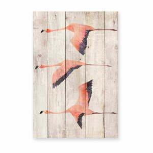 Nástenná dekorácia z borovicového dreva Madre Selva Flying Flamingo, 60×40 cm