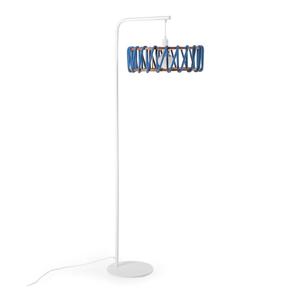 Stojacia lampa s bielou konštrukciou a veľkým modrým tienidlom EMKO Macaron