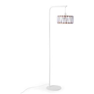 Stojacia lampa s bielou konštrukciou a malým bielym tienidlom EMKO Macaron