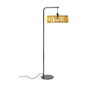 Stojacia lampa s čiernou konštrukciou a veľkým žltým tienidlom EMKO Macaron