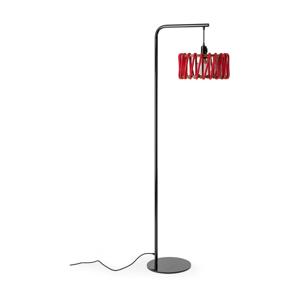 Stojacia lampa s čiernou konštrukciou a malým červeným tienidlom EMKO Macaron