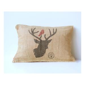 Obliečka na vankúš z juty Surdic Yute Deer & Bird, 50×35 cm