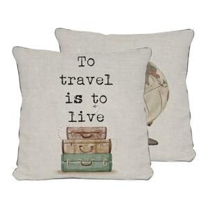 Obojstranná obliečka na vankúš Really Nice Things Travel Life, 45×45 cm