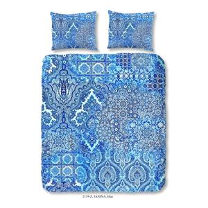 Modré obliečky na dvojlôžko z bavlneného saténu zouzou Laguna, 200×200 cm