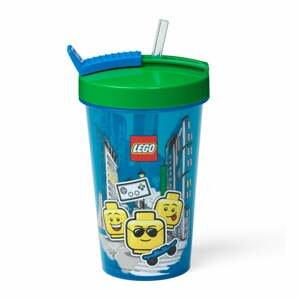 Modrý téglik so zeleným vekom a slamkou LEGO® Iconic, 500 ml