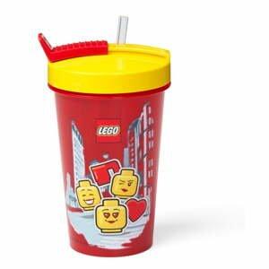 Červený téglik s žltým vekom a slamkou LEGO® Iconic, 500 ml