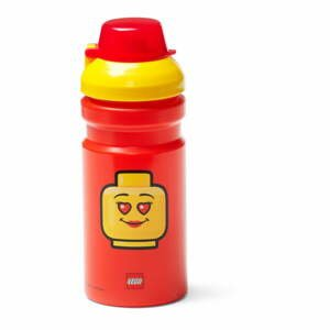 Červená fľaša na vodu s žltým vekom LEGO® Iconic, 390 ml