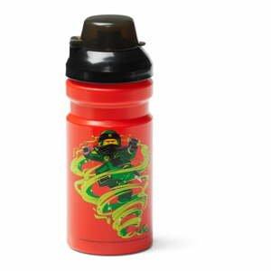 Červená fľaša na vodu s čiernym vekom LEGO® Ninjago, 390 ml