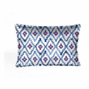 Modro-biela dekoratívna obliečka na vankúš Velvet Atelier Formentera, 50×25cm