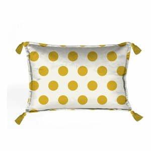 Žlto-biela dekoratívna obliečka na vankúš Velvet Atelier Dots, 50×35cm