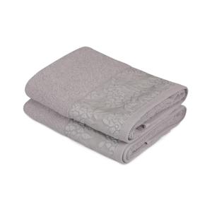 Sada 2 sivých uterákov z čistej bavlny, 50 x 90 cm