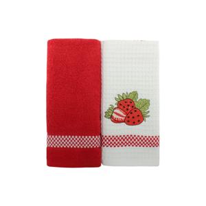 Sada 2 červeno-bielych uterákov z čistej bavlny, 45 x 70 cm