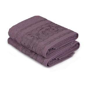 Sada 2 fialových bavlnených uterákov Yosemine, 50×90cm