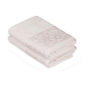 Sada 2 bielych bavlnených uterákov na ruky s krémovým lemovaním Grace, 50×90cm