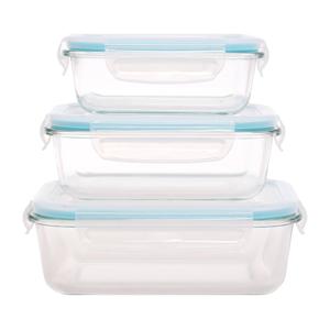 Set 3 sklenených dóz s plastovým vekom Sabichi Grande