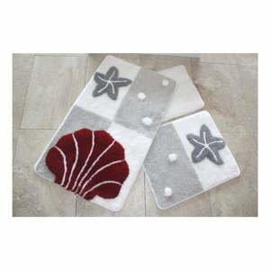 Sada troch kúpeľňových predložiek s morským motívom v sivo-červenej farbe Knit Knot
