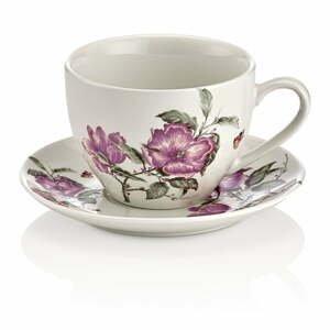 Sada 6 porcelánových šálok s tanierikom Shine Elegance