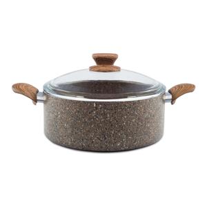 Hnedý kuchynský hrniec so skleneným viečkom Madison, Ø 26 cm