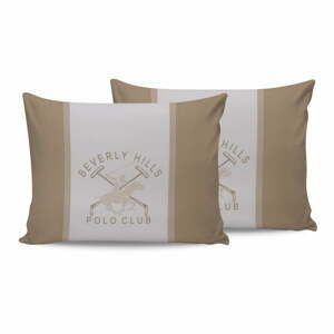 Sada 2 bavlnených obliečok na vankúš Polo Club Beige, 50 × 70 cm