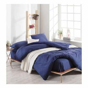 Modré bavlnené obliečky s plachtou na dvojlôžko, 220 × 240 cm